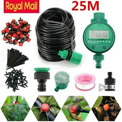 25m Automatic Drip Irrigation System Kit Plant Timer Self Watering Garden Hose • 18.99£
