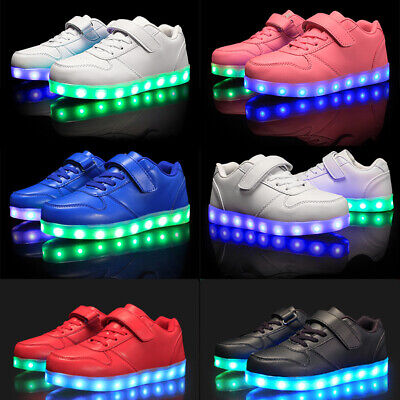 UK Boys Girls Kids Led Light Up Shoes Luminous Flashing Trainers Sneakers Gift • 16.98£