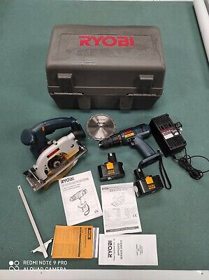 RYOBI Drill & Circular Saw Combination With Carry Case - 1 Charger X 2 Batteries • 129£