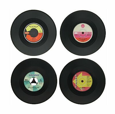 Set Of 4 Retro Vinyl Records Cup Glass Coasters Music Fan Beer Place Mats • 2.95£