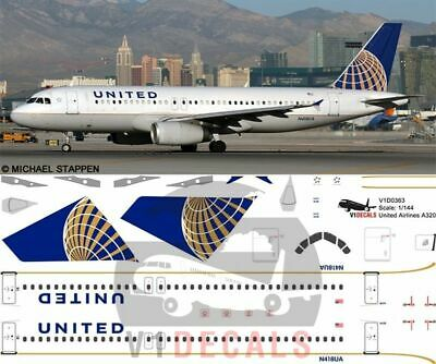 V1 Decals Airbus A320 United Airlines For 1/144 Revell Model Airplane Kit • 10.74£