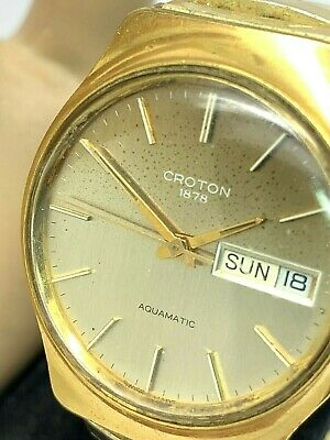 $ CDN74.56 • Buy Croton 1878 Automatic Swiss Mens Watch Vintage 35mm Day Date FOR REPAIR PARTS