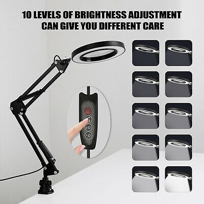 5X Magnifying Glass Desk Lamp Magnifier LED Light Foldable Read 3Modes USB • 14.99£
