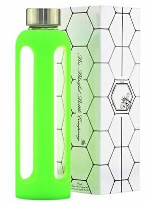 Bee Blissful Glass Silicone Water 500ml Drinking Bottle 100% BPA Free Green New • 7.99£