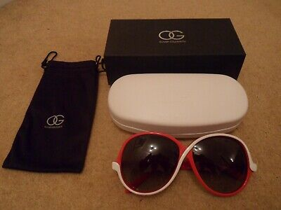 NEW OLIVER GOLDSMITH ZIGZAG 1977 REISSUE RED And WHITE FRAMES LADIES SUNGLASSES • 99.99£