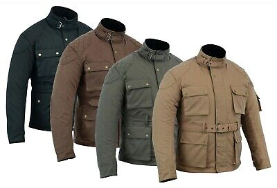 Warrior Waxed Cotton Motorcycle Ce Armour Motorbike Cotton Waxed Bikers Jacket • 89.99£