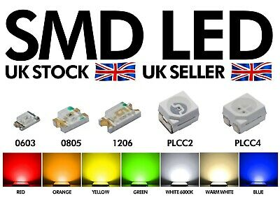 £5.99 • Buy Quality SMD LED 0603 0805 1206 3528 PLCC2 PLCC4 RED PINK WARM WHITE BLUE GREEN