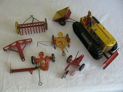 AU387.76 • Buy Vintage Marx Tin Litho Wind Up Caterpillar Farm Tractor W/ Implements Works! VG