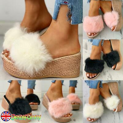 Women Fluffy Fur Platform Sandals Ladies Wedge Slip On Sliders Slippers Shoes UK • 14.59£