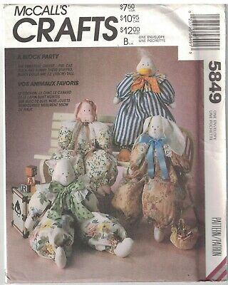 5849 UNCUT Vintage McCalls Sewing Pattern 22  Stuffed Block Animals Clothes OOP • 7.63£