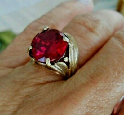 £428.12 • Buy 10K Gold Ring Ruby Solid Yellow Gold  Mid Century Size 7
