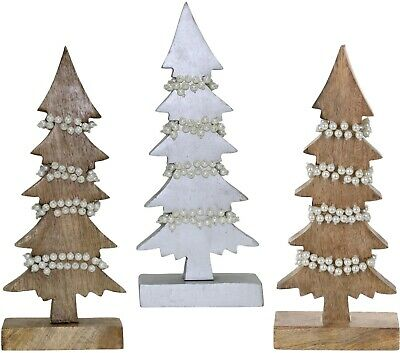 Christmas Table Decorations Centrepiece Rustic Wooden Xmas Tree Ornament Pearls • 14.99£