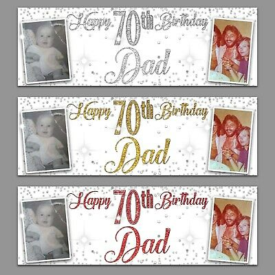 2 Personalised Birthday Banner White Photo Silver Gold Party Wedding Poster  • 6.99£