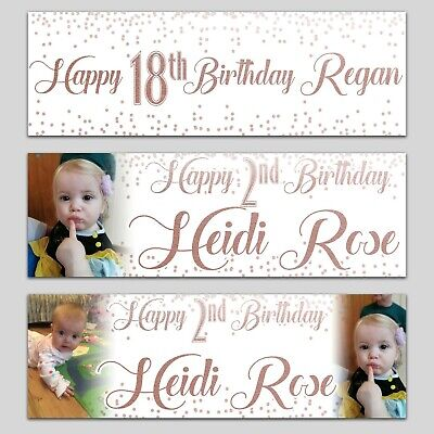 2 Personalised Birthday Banner Photo White And Rose Gold Party Wedding Poster  • 5.99£