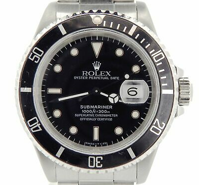 $ CDN10551.40 • Buy Rolex Submariner Date Mens Stainless Steel Sub Watch Black Dial & Bezel 16610