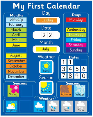 £21.08 • Buy My First Magnetic Calendar - BLUE Also Available In PINK. Rigid Board 40 X 32cm