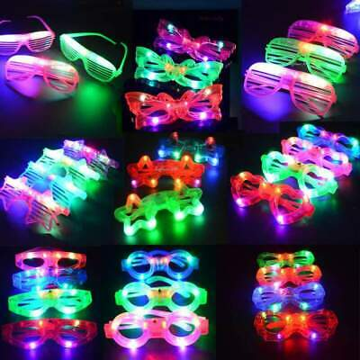 LED Glasses Party Light Up Shades Flashing Eye Wear Rave Dj Neon Night Club LOT • 2.29£