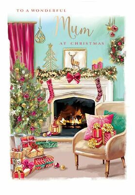 Christmas Card - Mum - Fireplace - At Home Ling Design Quality NEW • 3.95£