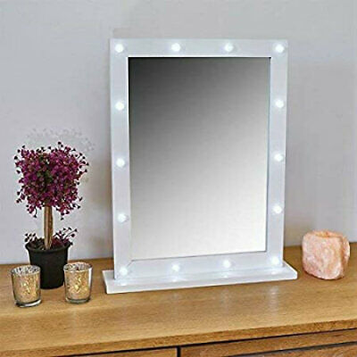 Small White Wooden Hollywood 14 LED Mirror Vanity Make Up Dressing Table Light  • 15.99£