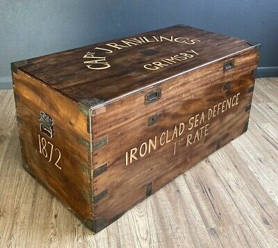 Antique Camphor Wood Campaign Chest Trunk Box Decorated With Grimsby Sea Captain • 695£