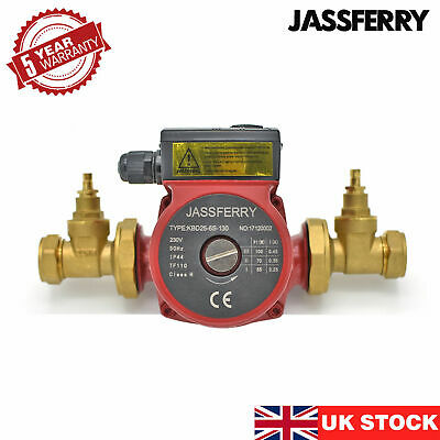 JASSFERRY New Central Heating Circulating Pump & 2 Pcs Gate Type Pump Valve • 52.99£