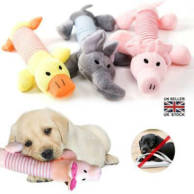 Funny Soft Pet Dog Puppy Chew Play Squeaker Squeaky Cute Plush Sound Toys UK • 3.79£