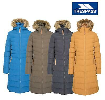 Trespass Audrey Womens Long Waterproof Parka Jacket Padded Hooded Coat Fur Trim • 59.99£