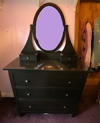 Ikea Hemnes Chest Of 3 Drawers With Mirror & Glass Top - Black/Brown • 80£