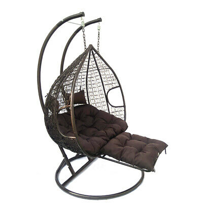 Rattan Effect Hanging Egg Chair Swing Patio Garden Room Cushion Rain Cover Foot • 219.99£