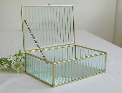£18.95 • Buy Gold & Ribbed Glass Lid Mirrored Jewellery Box Vintage Cosmetic Trinket Display