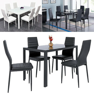 £92.95 • Buy Dinning Table And Chairs Set Rectangular Tempered Glass Gloss Kitchen Furniture