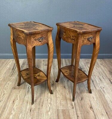 Pair Antique French Marquetry Petite Bedside Tables / Stands  • 875£