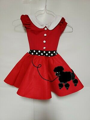 Weissman Poodle Skirt Dress Dance Costume Kids Child Small Red Polka Dot • 14.31£