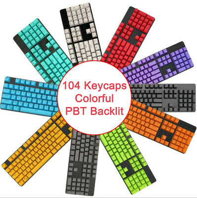 104 Keys PBT Keycaps DIY Colorful Replacement For Mechanical Keyboards ,Key Only • 9.66£