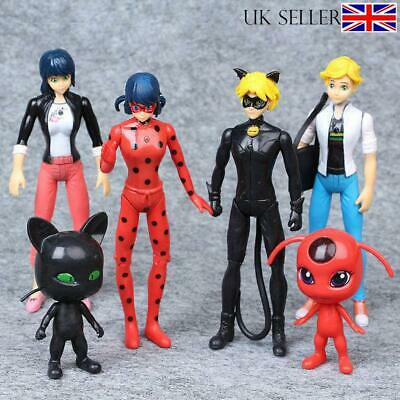 Miraculous Ladybug Tikki Noir Cat Plagg Adrien 6pcs Action Figures Doll Toy SetA • 7.99£