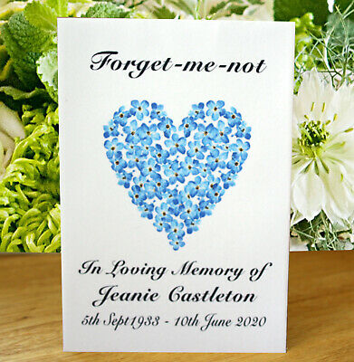 12 Personalised Forget-Me-Not Seed Funeral Memorial In Memory Remembrance Favour • 5.95£