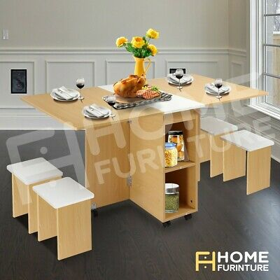 AU185.50 • Buy Dining Table 4 Chairs Wooden Multifunctional Foldable Kitchen Furniture WH&OAK