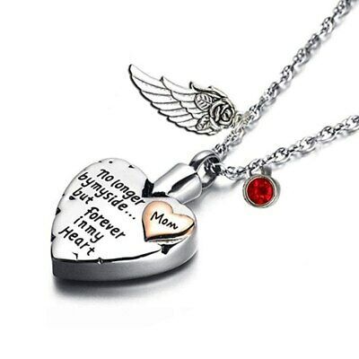 October Heart Cremation Urn Necklace  Angel Wing Pendant Jewelry And Birthstone • 23.15£