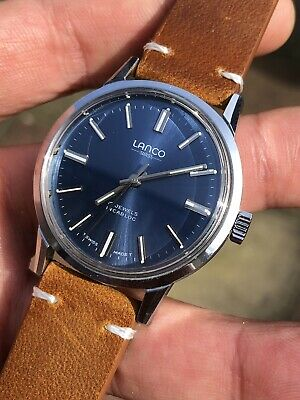 Lovely Blue Dial Vintage Lanco Mens Watch Hand-winding 35mm • 250£