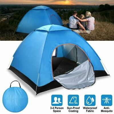 AU34.19 • Buy Family Tent 3-4 Person Man Camping Dome Tent Pop Up Hiking Beach Waterproof