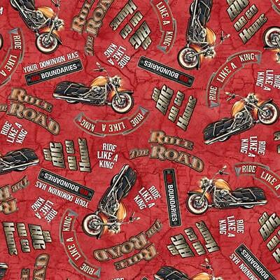 AU6 • Buy Rule The Road Motorcycle Fabric Red