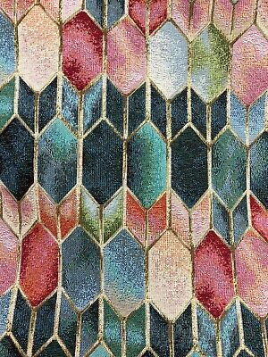 NEW WORLD - STAINED GLASS Cotton Rich Tapestry Fabric -140cm 54  Wide  • 7.95£