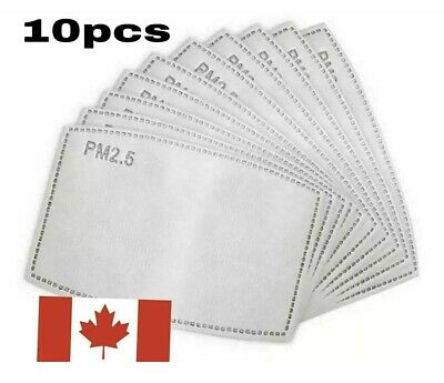 $ CDN4.99 • Buy 10 Replacement Fabric Face Mask Filter PM2.5 Insert Activated Carbon 5 Layer HQ