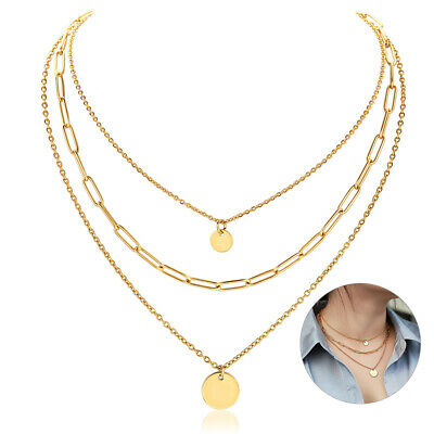 $8.99 • Buy Yellow Gold Plated Stainless Steel Multi Layered Choker Necklace Women Chain