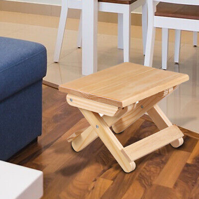 Folding Stool Outdoor Fishing Chair Pine Wooden Home Small Ottomans Footstools • 25.46£