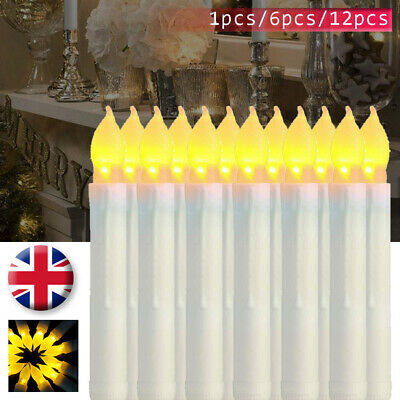 12PCS Battery Operated Candles Flameless Party Taper Electronic Light Plastic UK • 8.99£