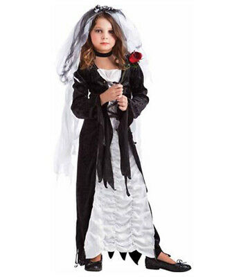 Bride Of Darkness Child Kids Halloween Costume XL Dark Goth Frankenstein Zombie • 17.73£