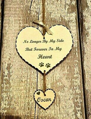 New Personalised Dog Plaque Memorial Pet Loss Sign Hanging Heart Any Name Cat • 5.65£
