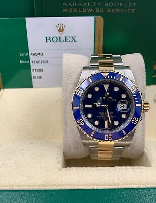$ CDN21327.72 • Buy Rolex 116613 Submariner Two Tone Blue Dial Bezel 18K Stainless Box Papers 2019