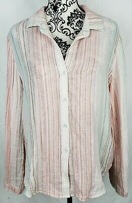 $ CDN31.58 • Buy Anthropologie Cloth & Stone Womens Top Sz Large Pink Striped Button Down Blouse